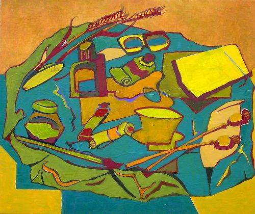Zátiší v maringotce, olej na plátně, 50x60 cm