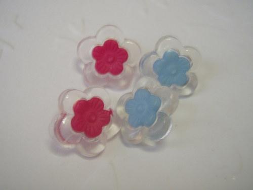 knoflíček s očkem květ 2 ks modré
