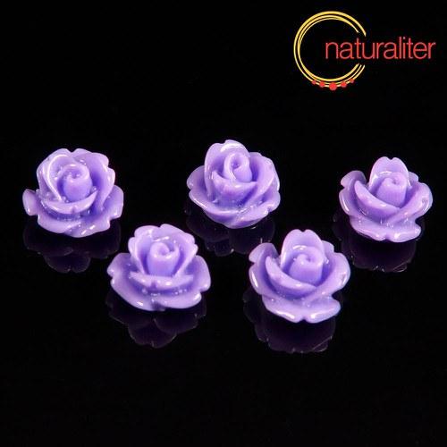 Růžička - kabošon z pryskyřice 10mm, fialová, 10ks