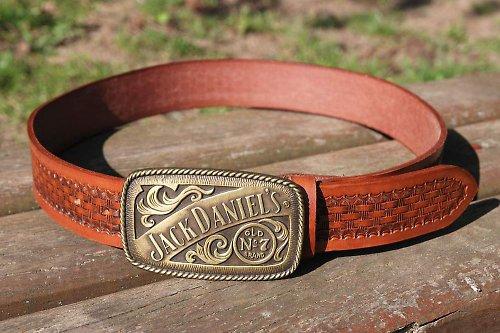 Ražený kožený opasek- western - 4 cm