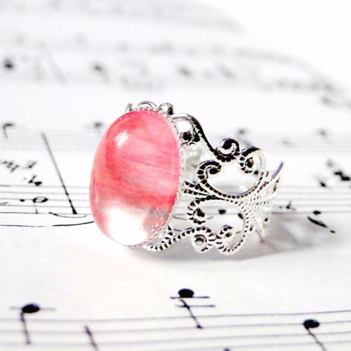 Romantický prsten s cherry křišťálem