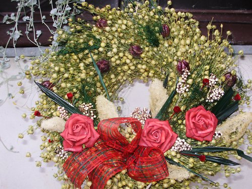 Len + červené růže