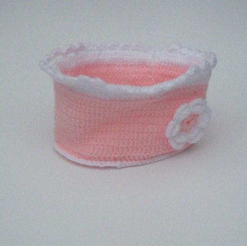 Háčkovaný košíček růžový