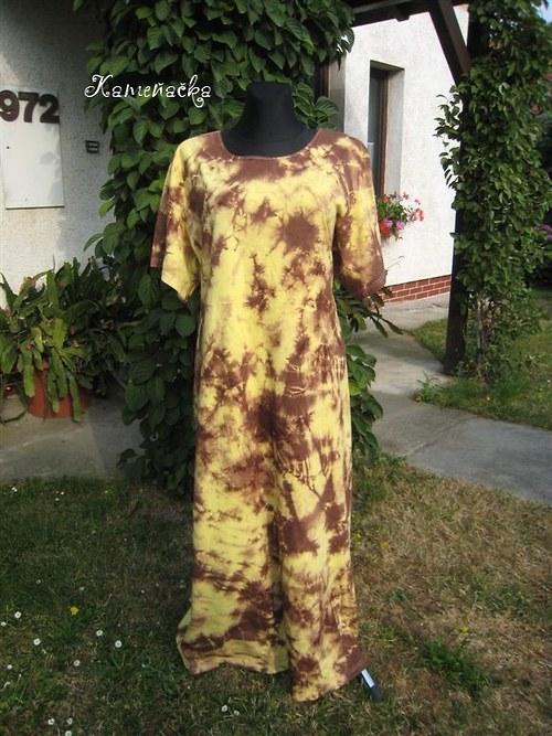 Batikované šaty hnědo-žluté do 7XL