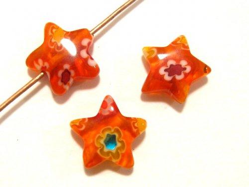 1100706/Hvězda Millefiori oranžová, 1 ks