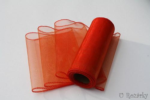 Organza obšitá - šíře 15 cm - oranžová
