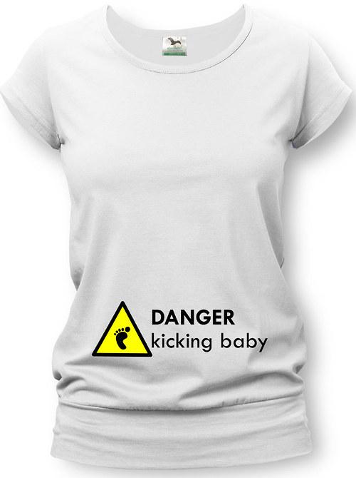 Těhotenské tričko s potiskem kicking baby