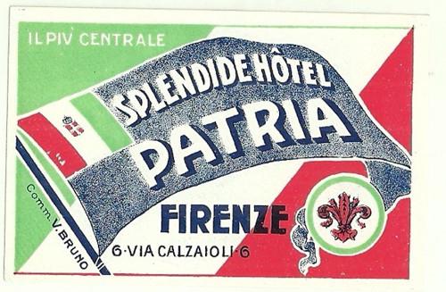 Hotelové nálepky Patria Firenze