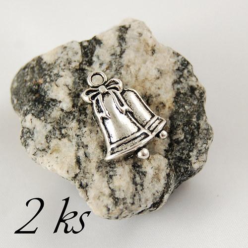 Zvonečky, stříbrná barva - 2ks