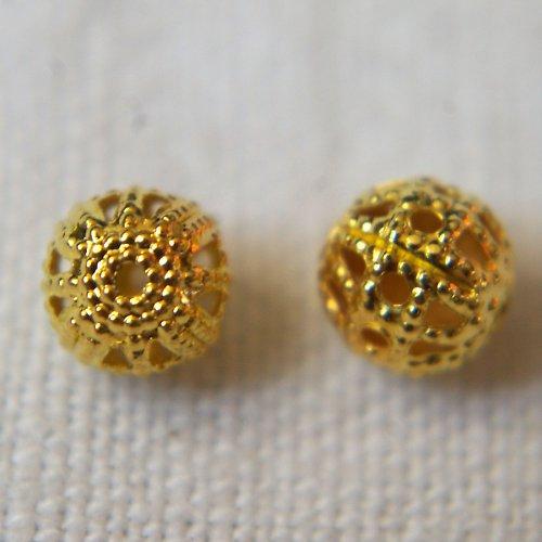 Filigránové kuličky 8mm zlaté 5ks