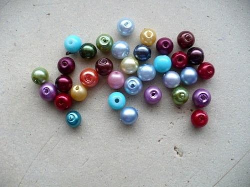 voskované perly mix barev 6mm - 30ks