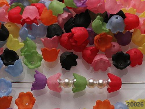 20026 Kaplíky akrylové mini květy, bal.25ks!!