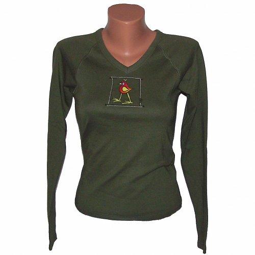 Tričko malované - khaki