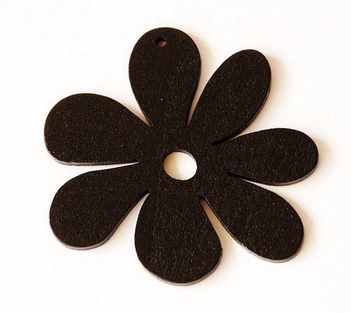 dřevěné kytičky- černé