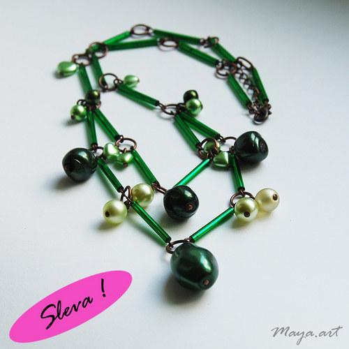 Zelený dvojitý náhrdelník - SLEVA z 255!
