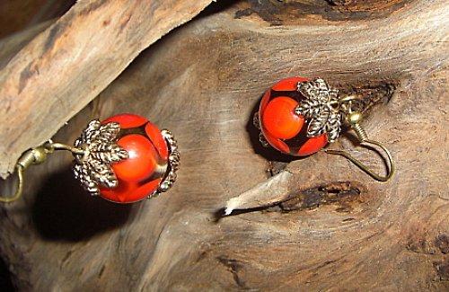 Vintage-náušnice červené I.