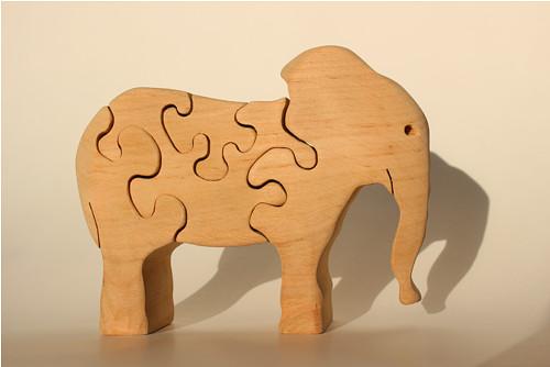 Dřevěné zvířátko - PUZZLE - slon