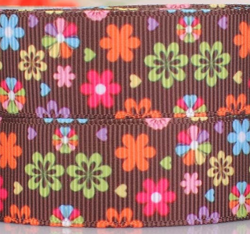 Rypsová stuha šíře 22 mm barevné květy