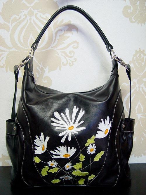 Krásna kožená kabelka Milka-Margarétky
