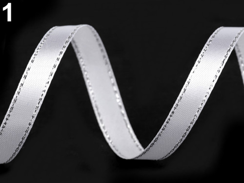 Atlasová stuha s lurexem 10mm (5m) - bílá stříbrná
