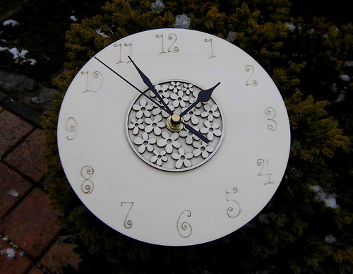 3D hodiny+kytičky - pr.20cm