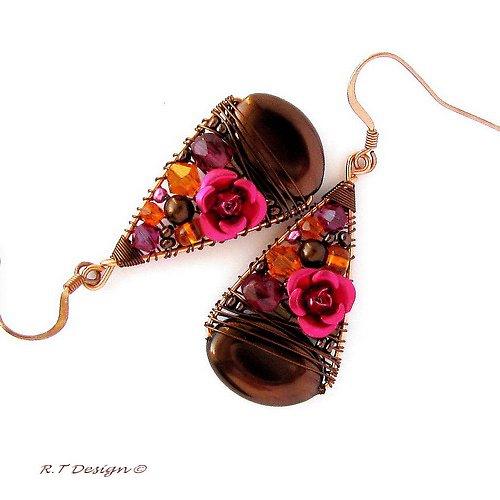 Náušnice Rose with chocolate...