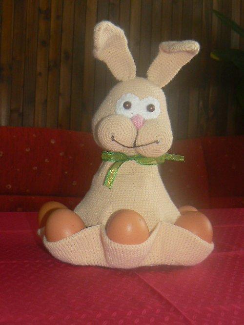 Návod na zajíčka s vajíčky - háčkovaný