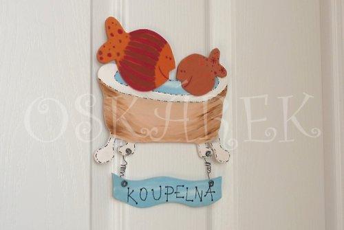 Dřevěná cedulka na dveře KOUPELNA