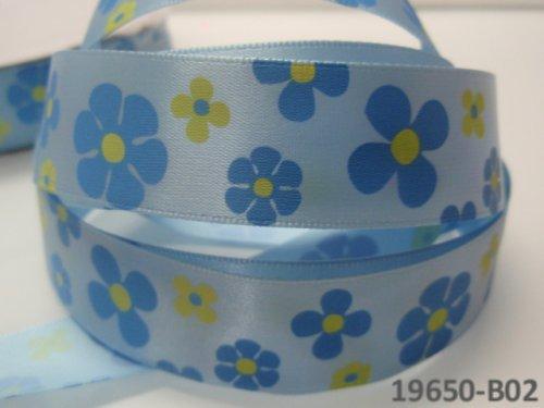 19650-B02 Stuha 22mm květy SV.MODRÁ, svazek 2m