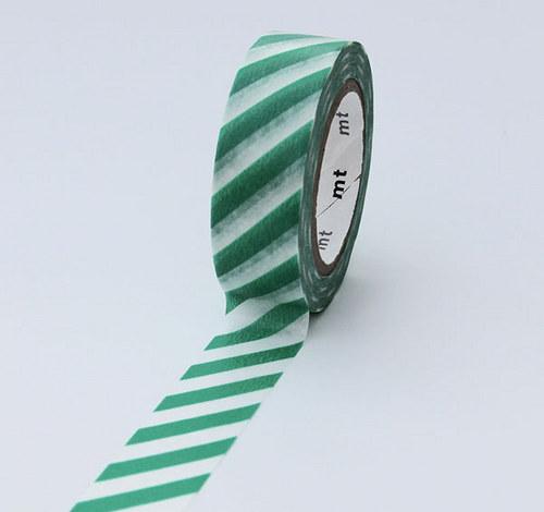 Japonská samolepící páska washi_zelený proužek