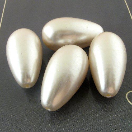 Perleťové korálky kapky velké 28 mm - 2 ks