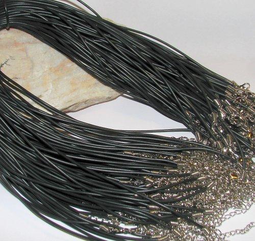 PRY2 Pryžová šňůrka 2mm s karabinkou - černá