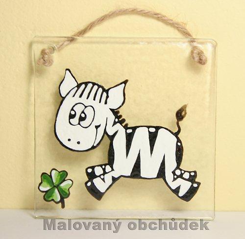 Skleněný obrázek-slečna Zebra Šťastná