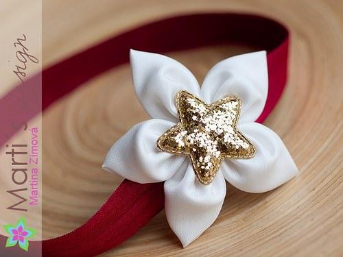 Čelenka s květinou - vánoční
