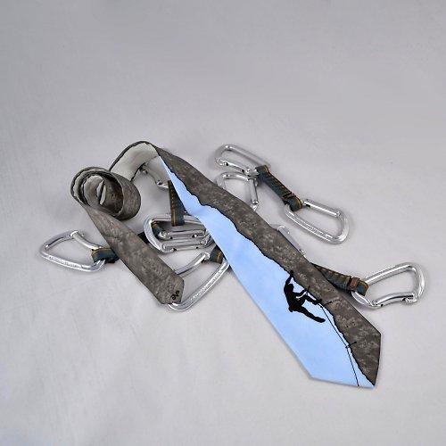 Hedvábná kravata (nejen) pro horolezce - šedomodrá