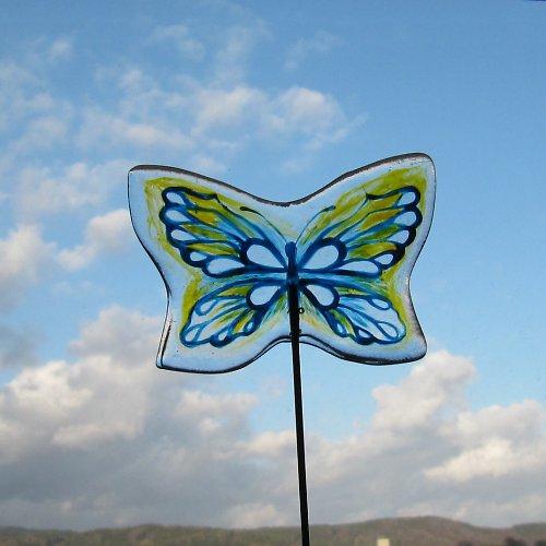 """Skleněný zápich \""""Motýl modrý\"""""""