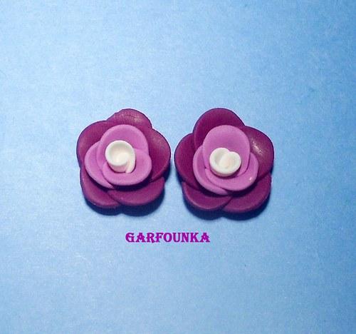 fimo pecky fialovo bílé růžičky