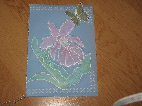 Přání s květinou a motýlkem