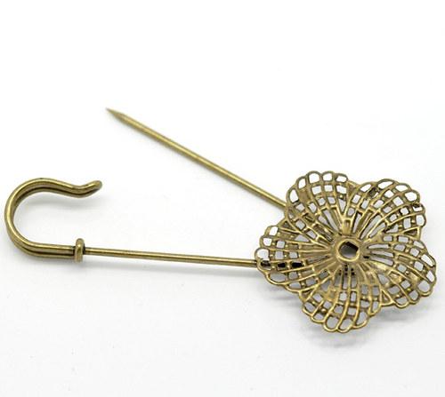 Brožový špendlík/ kytka lůžko/ bronz/ 83x34mm/ 1ks