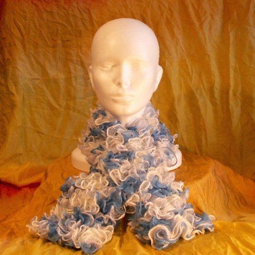 pletená šála - volánková světle modrá