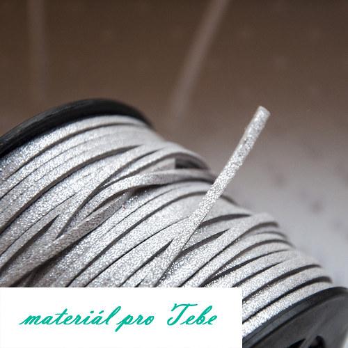 semišová umělá kůže - stříbrná - 3mm - 1m