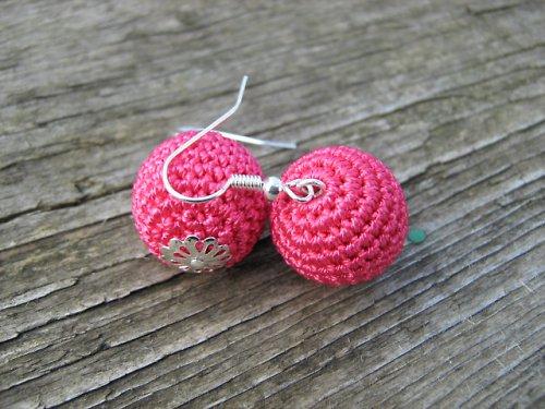 háčkované naušnice - růžová