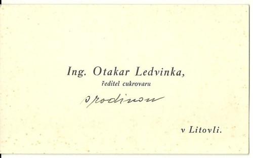 Vizitka Ledvinka ředitel cukrovaru Litovel
