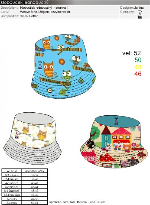 klobouček dětský letní