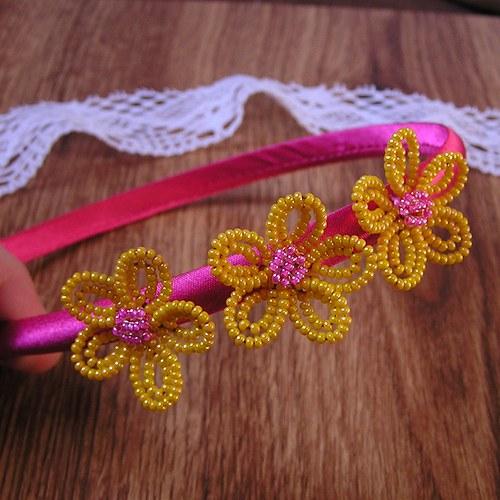 Rozkvetlá čelenka - žlutá na růžové