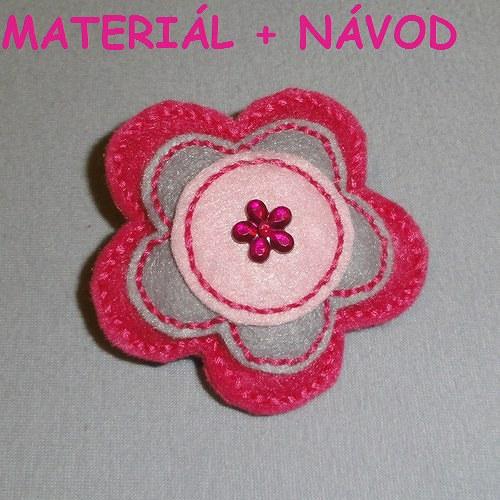 Vyrob si brož ;) - růžová květina