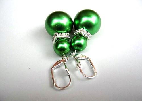 Green pearl náušnice