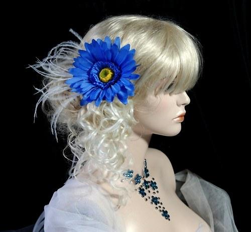Květina do vlasů Blue gerberus