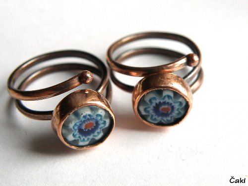 Prsten - měď - millefiori - Dvojčátka....