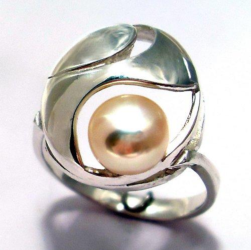Prsten «Břízový vítr» - růžová perla, stříbro